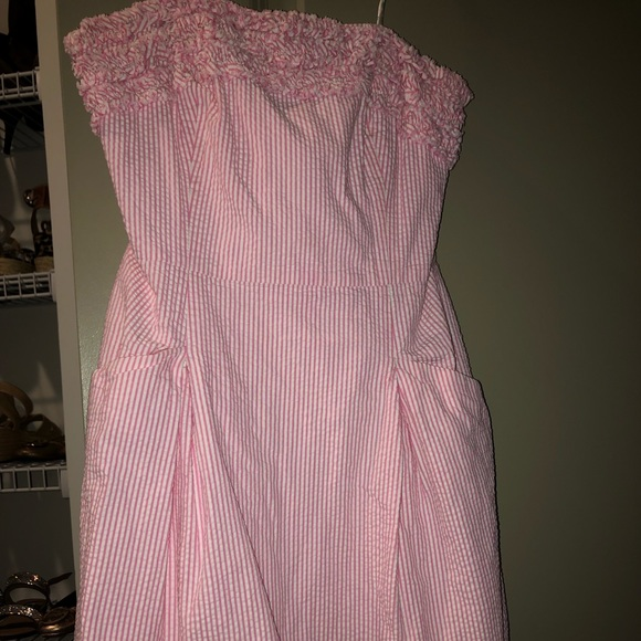 Lilly Pulitzer strapless 0 pink seersucker dress